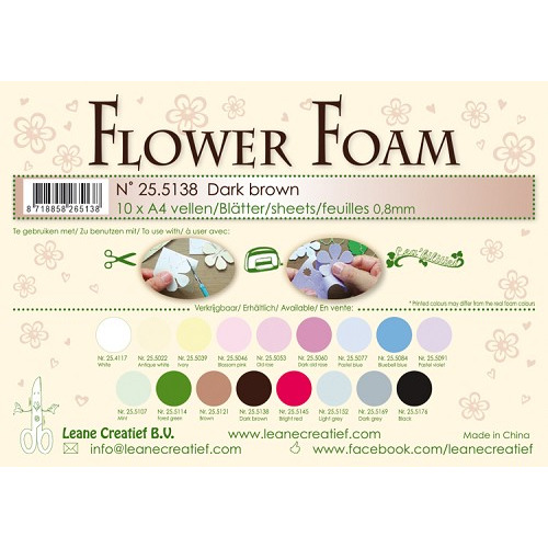 10 Flower foam sheets A4 0.8mm. Dark brown
