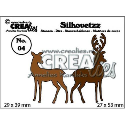 Crealies Silhouetzz no. 04 2 hertjes CLSH 04 29 x 39 mm - 27 x 53 mm  (09-18)