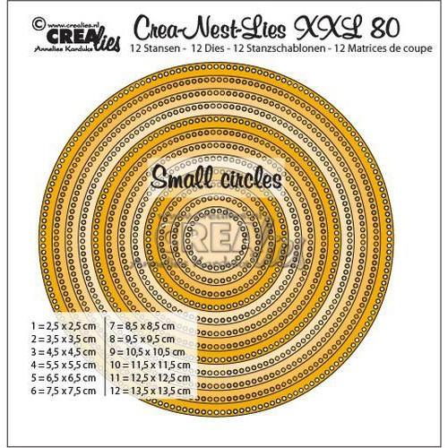 Crealies Crea-Nest-Lies XXL no 80 cirkels - kleine gaatjes CLNestXXL80 13,5x13,5cm (11-18)